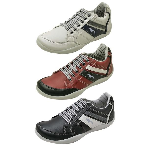 Kit 3 Pares Sapatênis Casual Infantil Top Franca Shoes Cinza / Vermelho / Preto