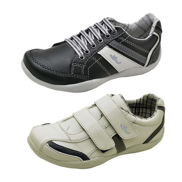 Kit 2 Pares Sapatênis Casual Infantil Top Franca Shoes Preto / Cinza