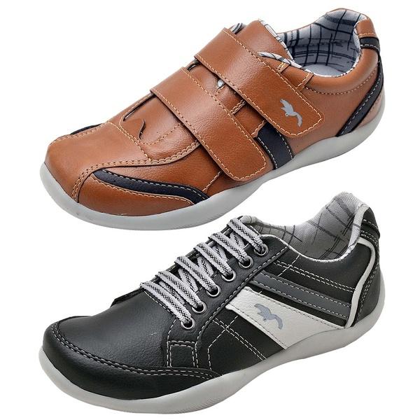 Kit 2 Pares Sapatênis Casual Infantil Top Franca Shoes Camel / Preto