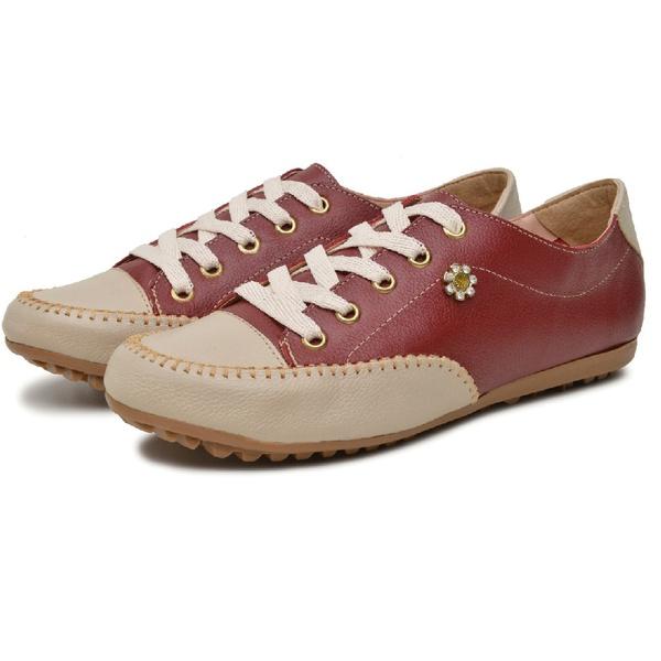 Mocatênis Feminino Top Franca Shoes Bordo e Bege