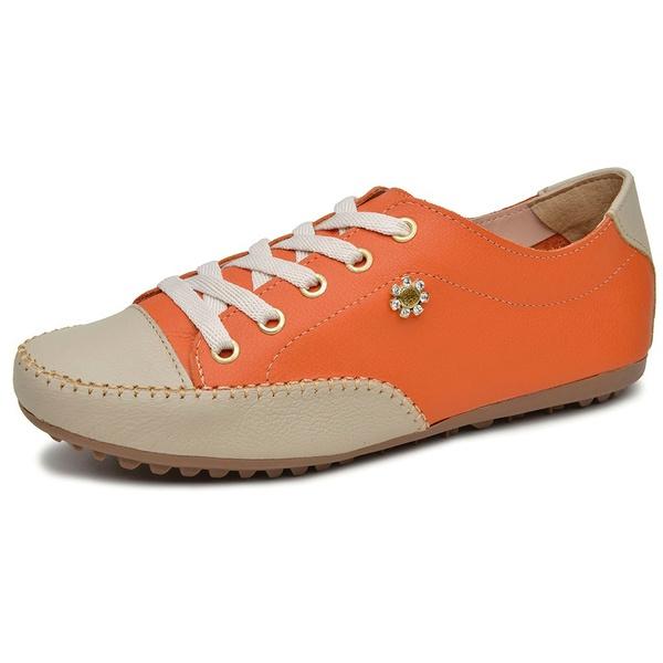 Mocatênis Feminino Top Franca Shoes Laranja e Bege