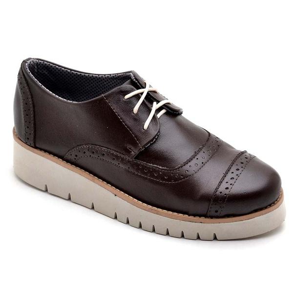 Sapato Oxford Feminino Sola Anabela Café