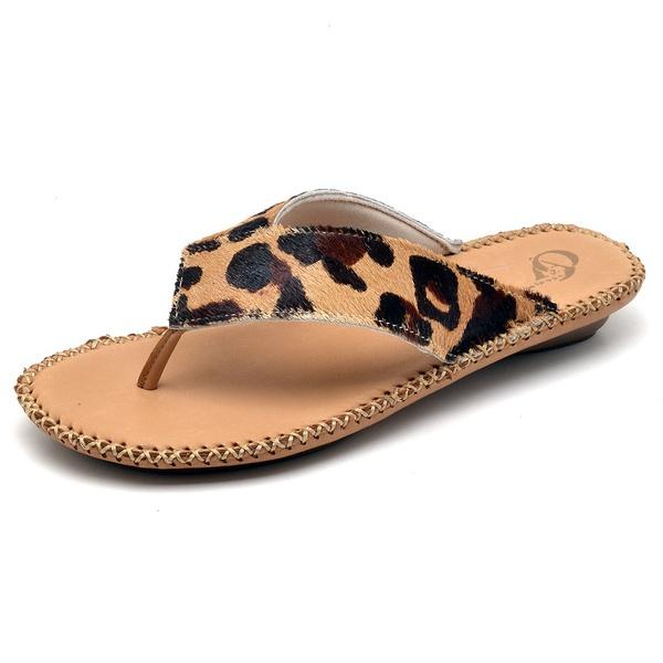 Chinelo Sandália Feminino Rasteira Top Franca Shoes Nozes Onça