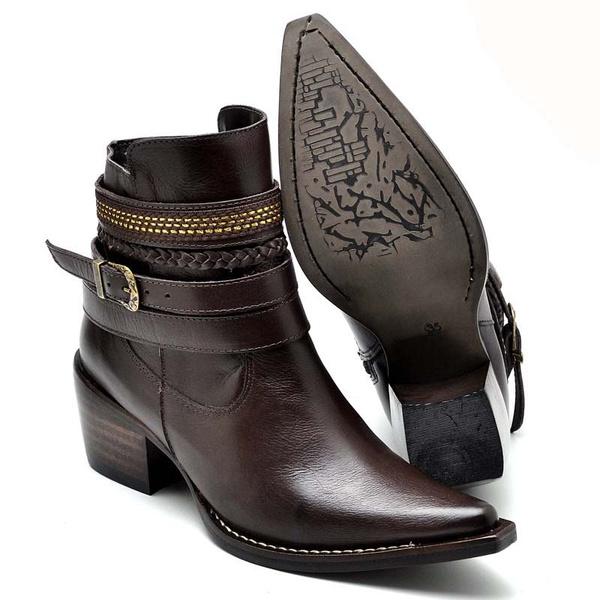 Bota Country Feminina Bico Fino Top Franca Shoes Cafe