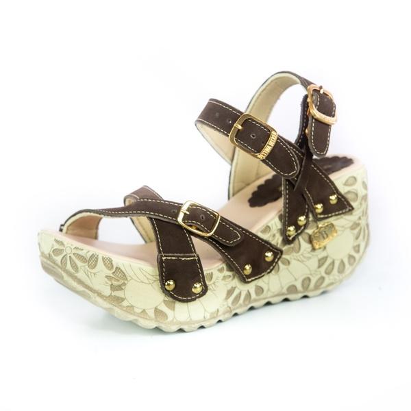 Sandália Feminina Top Franca Shoes Plataforma Anabela Marrom
