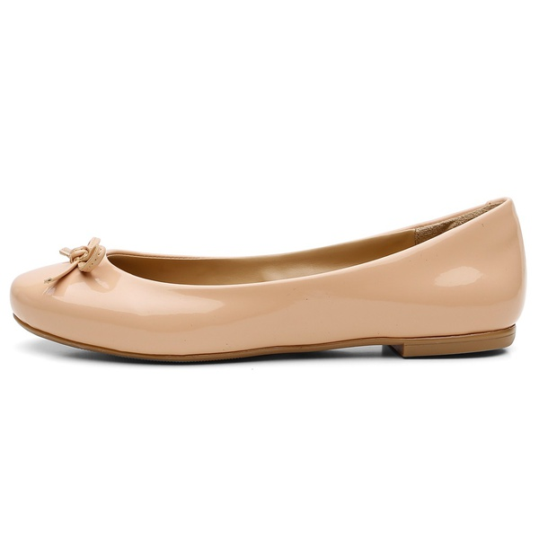 Sapatilha Feminina Bico Redondo Top Franca Shoes Verniz Nude