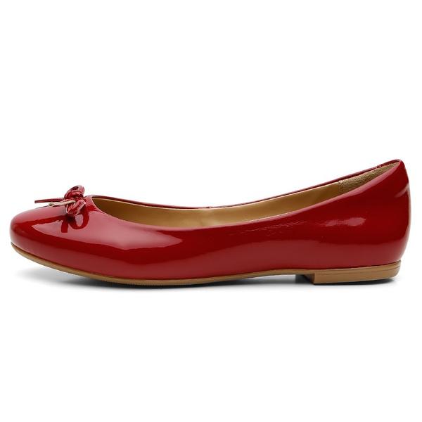 Sapatilha Feminina Bico Redondo Verniz Vermelho