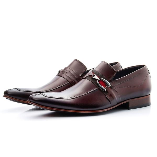 Sapato Social Masculino Solado De Couro Com Fivela