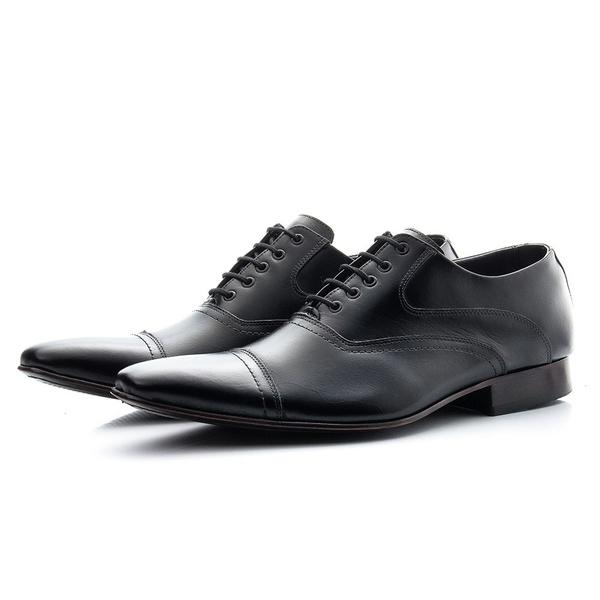 Sapato Clássico Masculino De Amarrar Preto Solado De Couro
