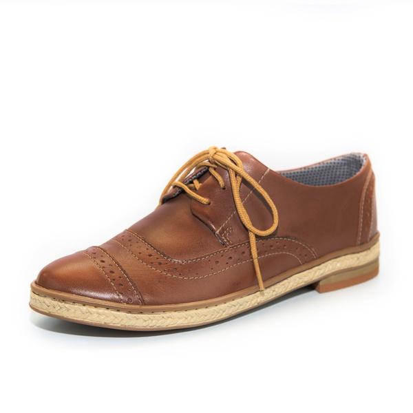 Sapato Social Feminino Inglês Casual Top Franca Shoes Caramelo