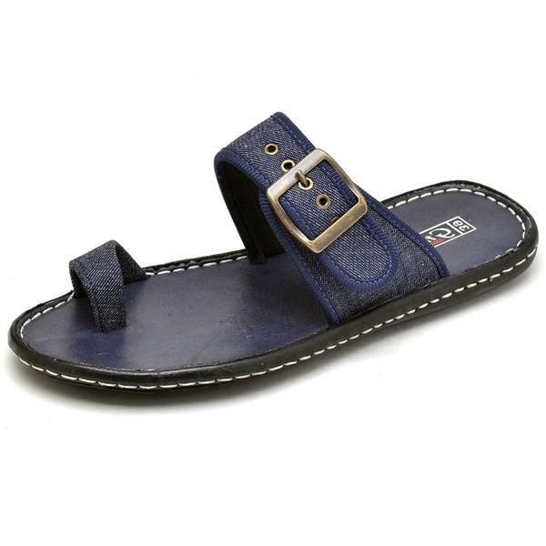 Sandália Masculina Ortopédica Antistress de Couro Jeans