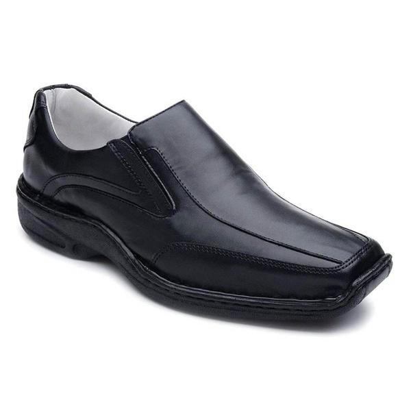 Sapato Casual Masculino Couro Legítimo Preto