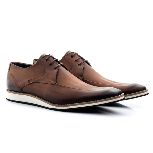 Sapato Masculino Oxford Estonado Cadarço Marrom