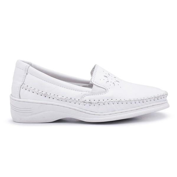Sapato Mocassim Confortável Feminino Couro Branco
