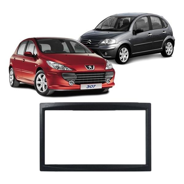Moldura DVD 2 Din C-3/ Peugeot 307 2001 a 2012 (Preto)