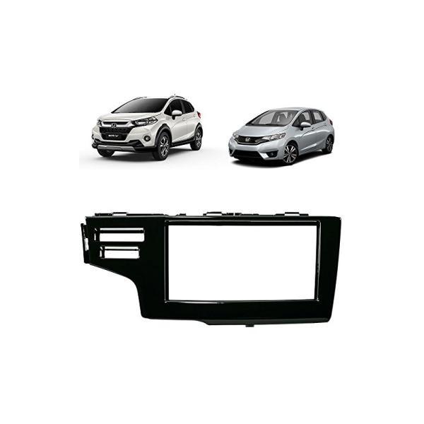 Moldura DVD 2 Din Honda Fit/ WR-V / Com 2 Furo (Black Piano)