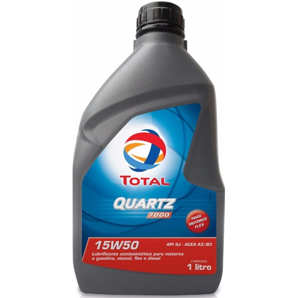 Óleo de Motor Total Quartz 7000 15W 50 API SL Semissintético 1Lt.