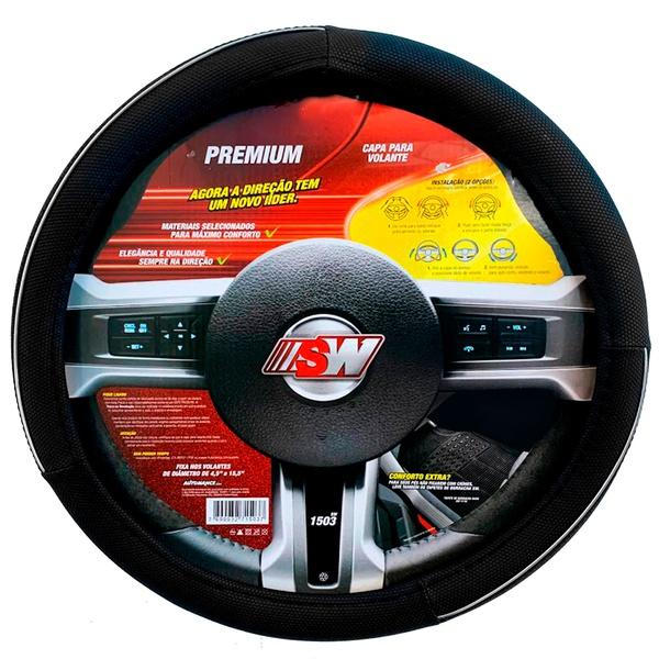 Capa para volante universal preto c/ cromado - Linha Premium - SW
