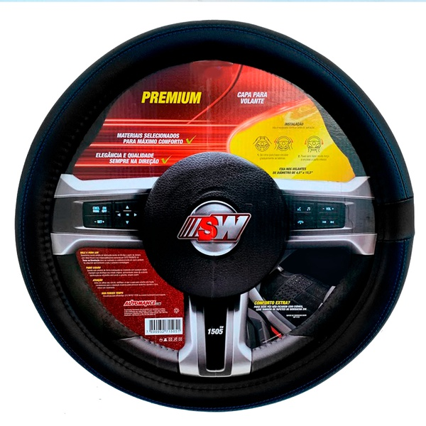 Capa para volante universal preto c/ costura azul - Linha Premium - SW