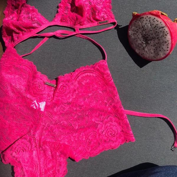 Calcinha caleçon de renda Rosa Pink