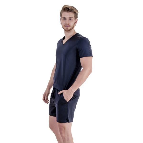 Pijama Homewear H.A. curto preto gola V
