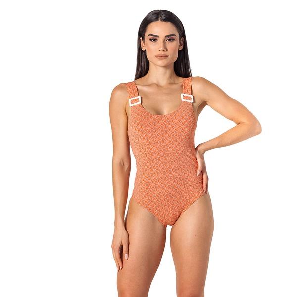 Body/maiô Loop laranja concha c/ fivela