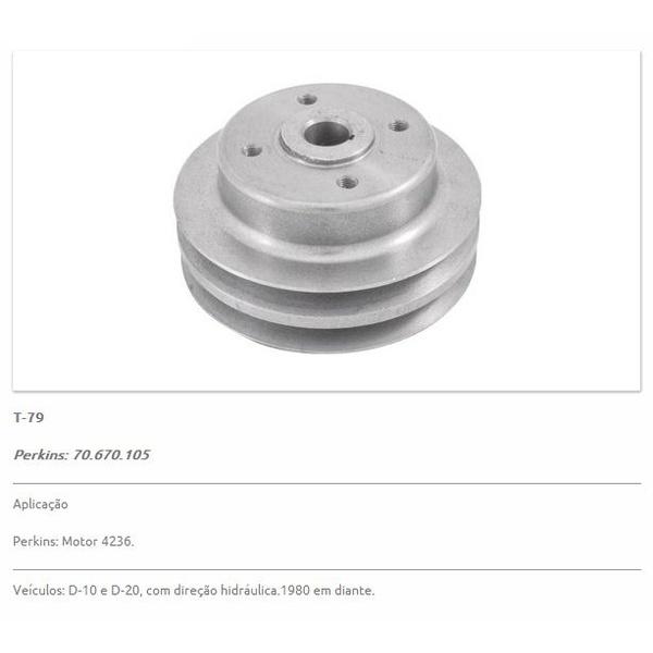 Polia da bomba d'água D10 e D20 motor Perkins 4236 e Q20B. Polia dupla (02 Canais) - T79