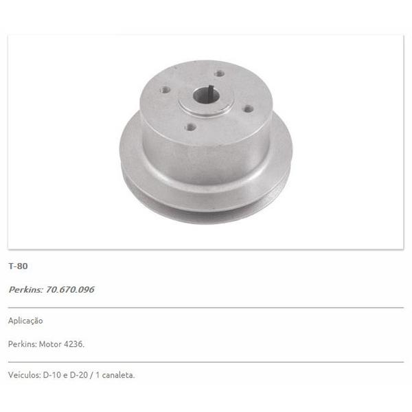 Polia da bomba d'água D10 e D20 motor Perkins 4236 e Q20B. Polia simples (01 canal) - T80