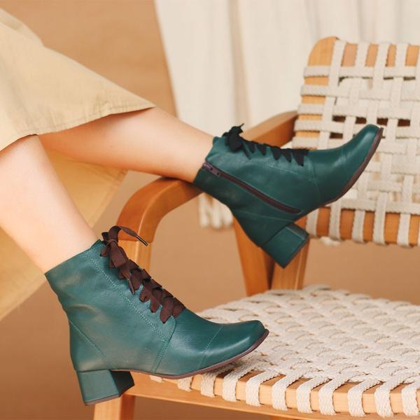 Bota Feminina Couro Bico Quadrado Verde - Miami - 383-04