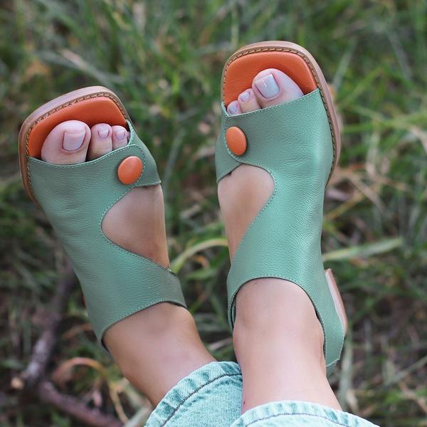 Sandália Rasteira com Velcro Verde Menta - Viena - 914-05