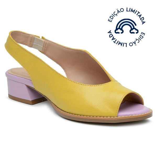 Sandália Salto Baixo Amarelo e Lavanda - Florença - 965-02