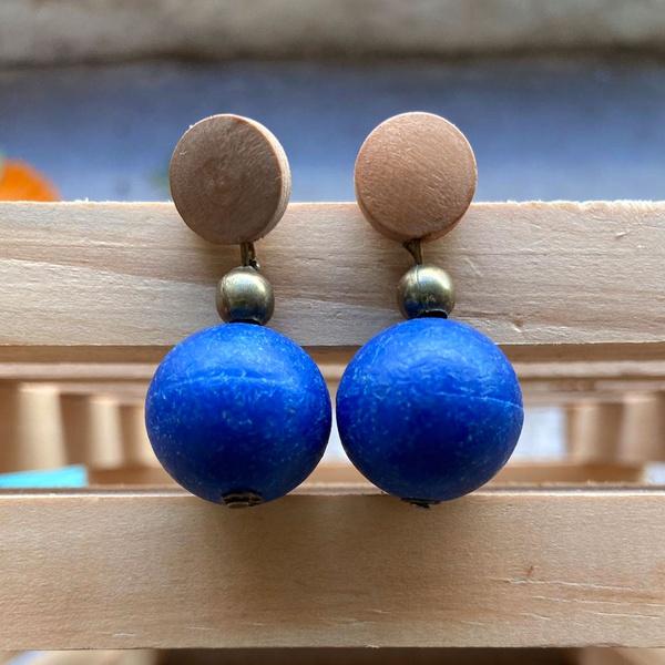 Brinco de Resina e Madeira Azul - Andorinhas
