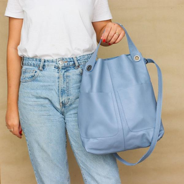 Bolsa de Couro Legítimo Feminina Sacola Alongada Jade Azul Hortência