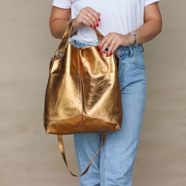Bolsa de Couro Legítimo Feminina Sacola Alongada Jade Bronze