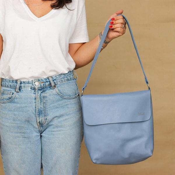Bolsa de Couro Legítimo Feminina Lotus - Azul Hortência