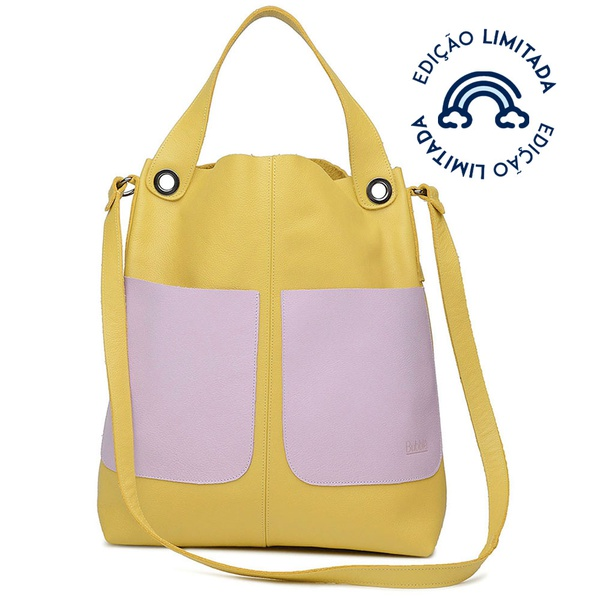 Bolsa de Couro Legítimo Feminina Sacola Alongada Jade - Amarelo e Lavanda