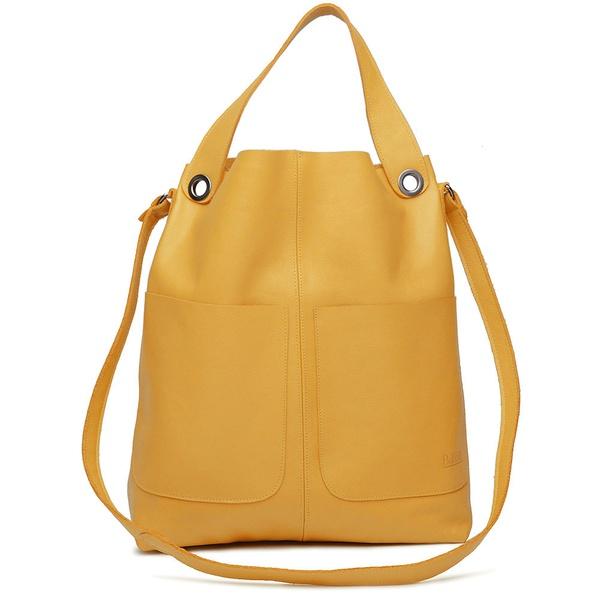 Bolsa de Couro Legítimo Feminina Sacola Alongada Jade - Amarela