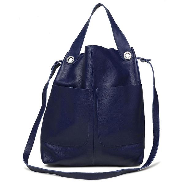 Bolsa de Couro Legítimo Feminina Sacola Alongada Jade Azul Anil