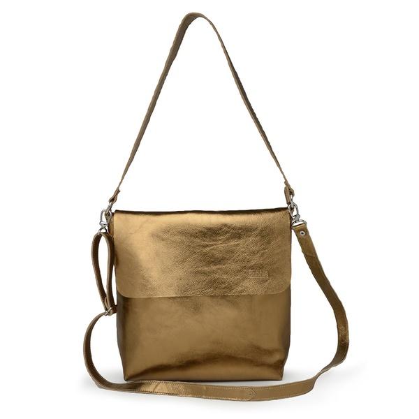 Bolsa de Couro Legítimo Feminina Lotus - Bronze