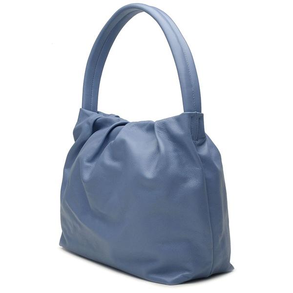 Bolsa de Couro Legítimo Feminina Média Alça única Bivalve Azul Hortência