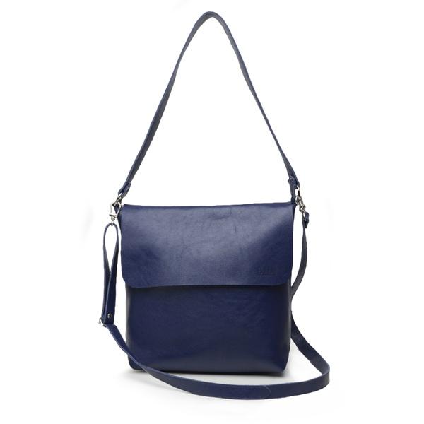 Bolsa de Couro Legítimo Feminina Lotus - Azul Anil