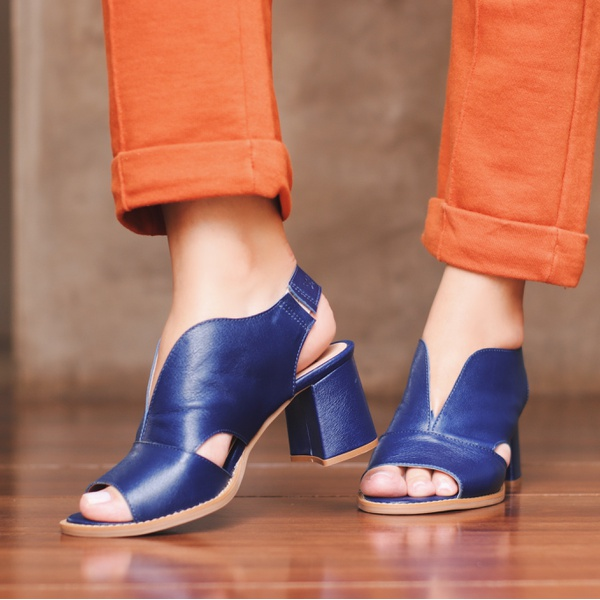 Sandália Salto Grosso Azul Anil - Veneza - 177-20