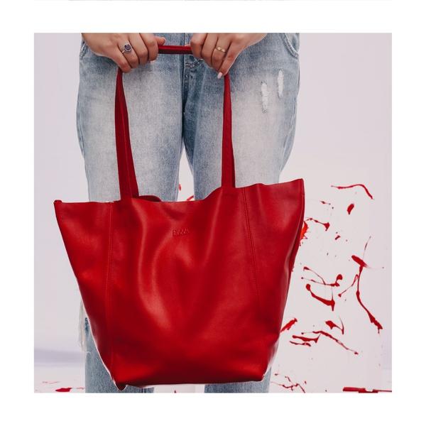 Bolsa de Couro Legítimo Feminina Asa Delta - Vermelha