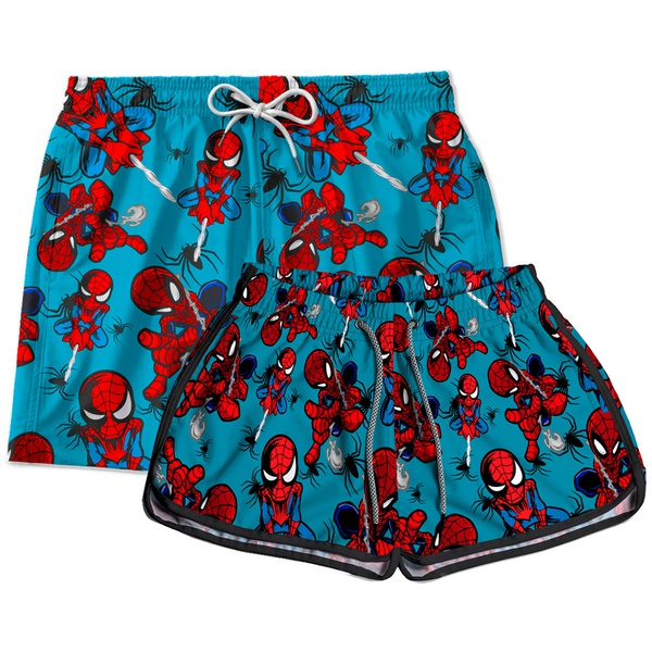 Kit Short Casal homem aranha