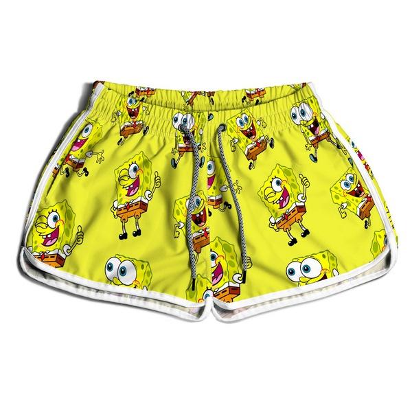 Short De Praia Estampado Feminino Bob Esponja Amarelo Use Nerd