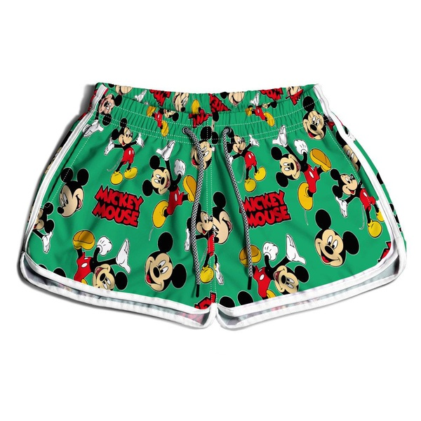 Short De Praia Estampado Feminino Mickey Verde Use Nerd