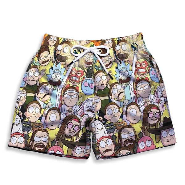 Short Praia Estampado Infantil Rick Morning Use Nerd