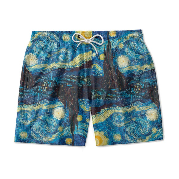 Short Praia Masculino Noite Estrelada Ajuste Regulável Mauricinho Azul