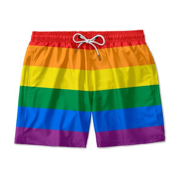 Short Praia Masculino LGBT Ajuste Regulável Mauricinho Amarelo