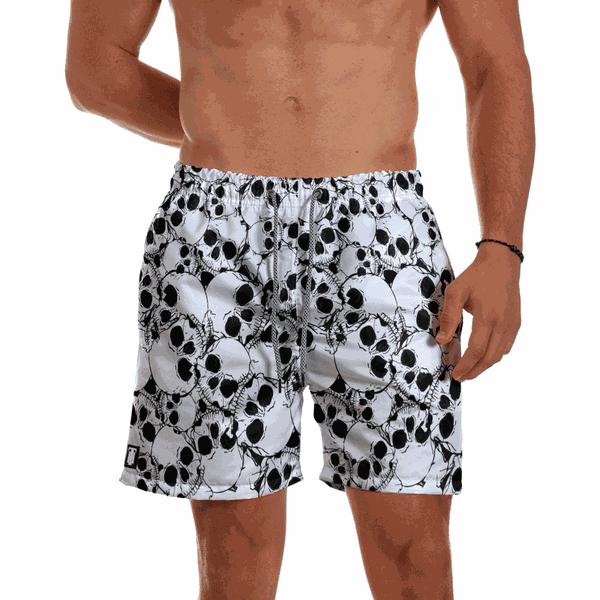 Short Praia Masculino Caveiras Branco Use Thuco